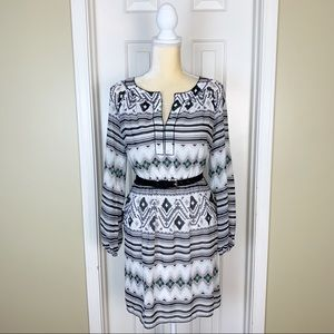 Chelsea & Violet Tribal Print Belted Mini Dress